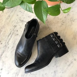 Franco Sarto Black Leather Side Buckle Ankle Boots